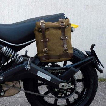 Borsa laterale in crosta di cuoio + telaio Ducati Scrambler